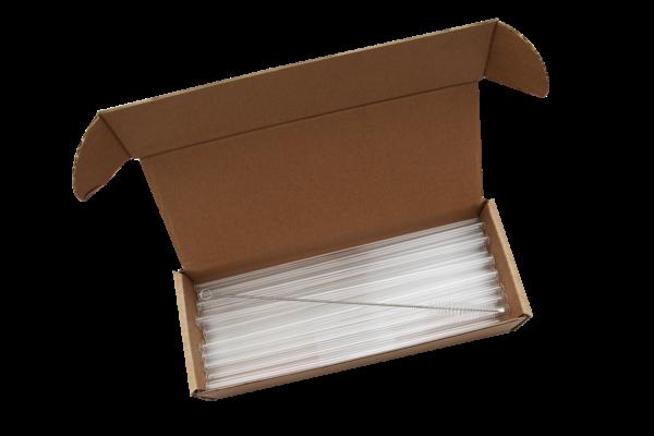 otvorena kutija staklenih slamki